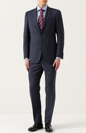 Шерстяной костюм в клетку с пиджаком на двух пуговицах Windsor. Цвет: темно-синий