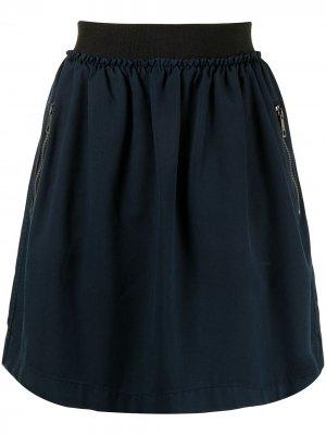 Плиссированная юбка мини Burberry Pre-Owned. Цвет: синий
