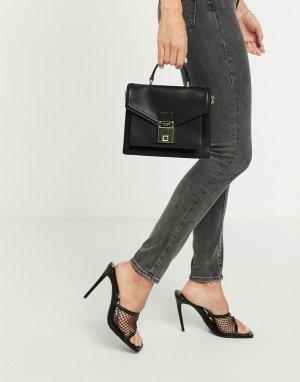 Черный кожаный портфель мини с багажным замком Kimmiee Ted Baker