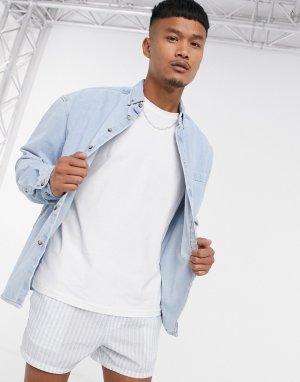 Джинсовая oversized-рубашка в стиле 90-х -Синий ASOS DESIGN