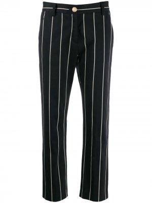 Укороченные атласные брюки прямого кроя в полоску Derek Lam 10 Crosby. Цвет: черный