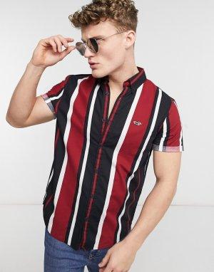 Узкая рубашка из поплина в красную и черную полоску с короткими рукавами -Красный Hollister