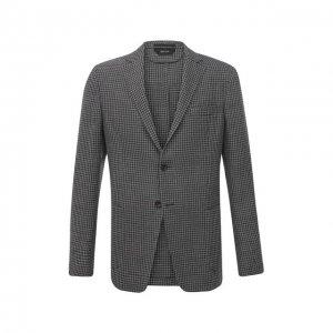 Пиджак из шерсти и льна Z Zegna. Цвет: серый