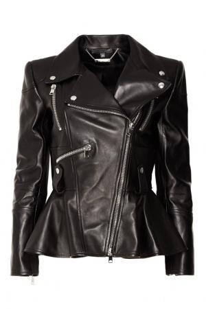 Черная кожаная куртка с баской Alexander McQueen. Цвет: черный
