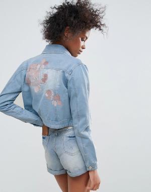 Джинсовая куртка с вышивкой Macy Urban Bliss. Цвет: синий