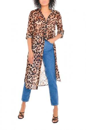 Туника MONDIGO. Цвет: леопард, коричневый