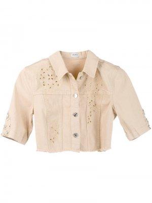 Укороченная джинсовая куртка Ketty Liu Jo. Цвет: бежевый