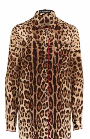 Шелковая блуза в пижамном стиле Dolce & Gabbana. Цвет: леопардовый