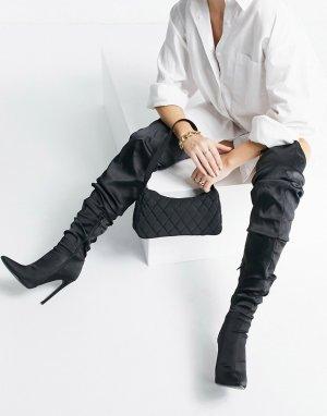 Черные атласные ботфорты с присборенным голенищем Kammi-Черный цвет ASOS DESIGN