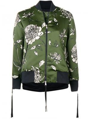 Куртка-бомбер с цветочным принтом Moncler. Цвет: зеленый