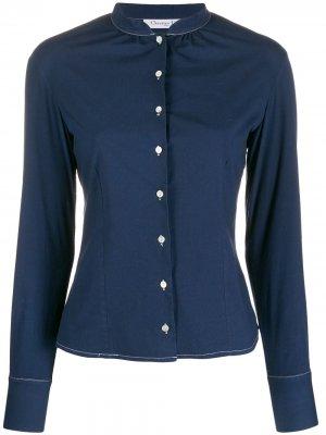 Рубашка 2000-х годов с воротником-стойкой Christian Dior. Цвет: синий