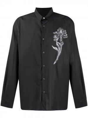 Рубашка с длинными рукавами и цветочной нашивкой Ann Demeulemeester. Цвет: черный