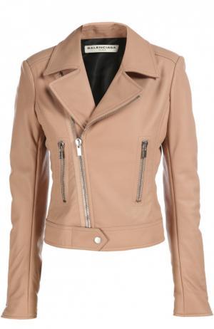 Куртка кожаная Balenciaga. Цвет: светло-розовый