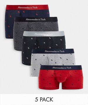 Комплект из 5 боксеров-брифов со сплошным логотипом черного, серого и розового цветов -Multi Abercrombie & Fitch