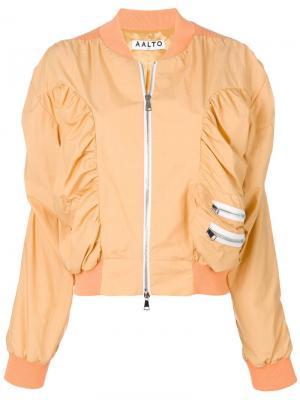 Куртка-бомбер на молнии Aalto. Цвет: желтый