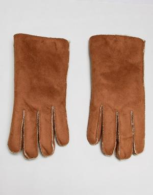 Светло-коричневые перчатки из искусственной замши с овечьей шерстью 7X. Цвет: рыжий