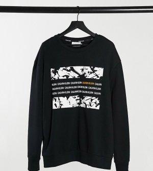 Черный свитшот с прямоугольным принтом Big & Tall Calvin Klein