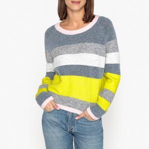 Пуловер с вырезом-лодочкой из тонкого трикотажа SAMSOE AND. Цвет: серый/ желтый