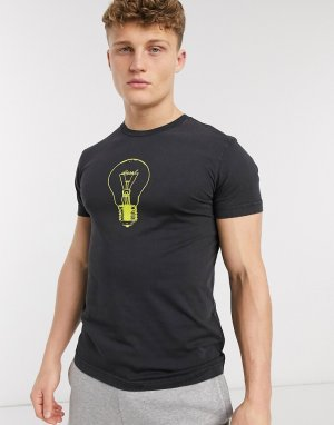 Черная футболка с логотипом в виде лампочки -Черный Diesel