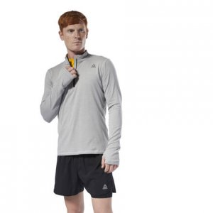 Пуловер Run Essentials Quarter Zip Reebok. Цвет: mgh solid grey
