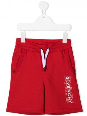 Шорты с кулиской и логотипом Givenchy Kids. Цвет: красный