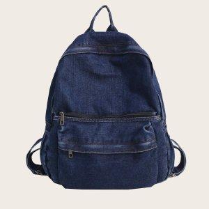 Джинсовый рюкзак большой емкости SHEIN. Цвет: темно-синий