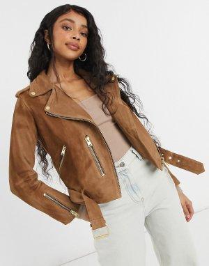 Светло-коричневая замшевая кожаная байкерская куртка Balfern-Коричневый цвет AllSaints