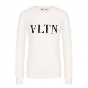 Пуловер из смеси шерсти и кашемира с логотипом бренда Valentino. Цвет: белый