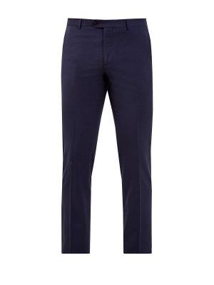 Классические брюки из гладкой костюмной ткани ETRO. Цвет: синий