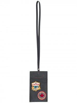 Картхолдер с ремешком на шею Dsquared2. Цвет: черный