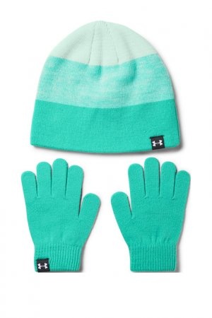 Шапка и перчатки UA G Beanie Under Armour. Цвет: зеленый