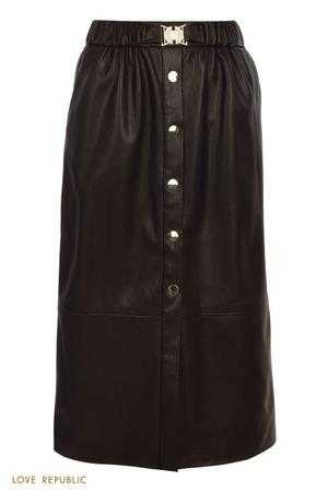 Утонченная юбка миди на пуговицах из экокожи LOVE REPUBLIC