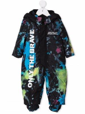 Лыжный костюм Noffelb-Ski с принтом тай-дай Diesel Kids. Цвет: черный