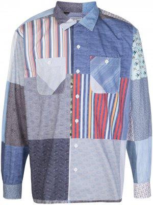 Рубашка в технике пэчворк с контрастным принтом Engineered Garments. Цвет: синий