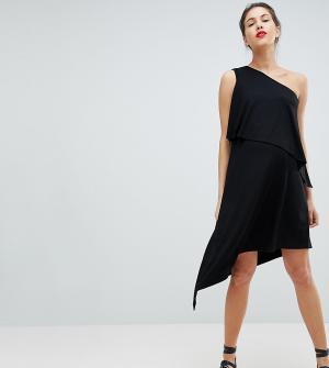 Платье на одно плечо с драпировкой Isabella Oliver. Цвет: черный