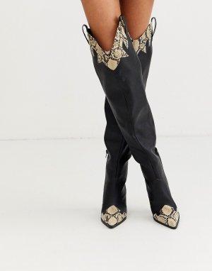 Черные ботфорты в стиле вестерн Rodeo-Черный Public Desire