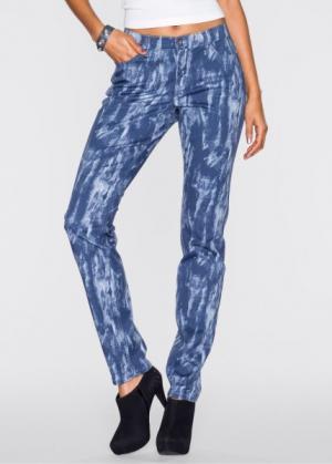 Мода больших размеров: брюки с принтом (синий джинсовый рисунком) bonprix. Цвет: синий джинсовый с рисунком