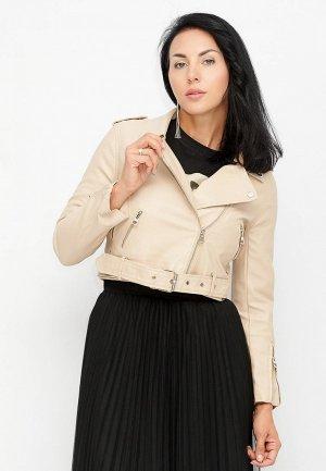 Куртка кожаная Bellart. Цвет: бежевый