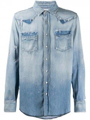 Джинсовая рубашка в стиле вестерн Saint Laurent. Цвет: синий