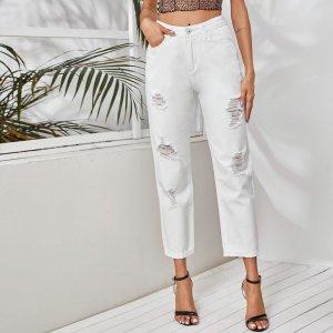 Рваные джинсы с карманом SHEIN. Цвет: белый