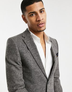 Серый узкий пиджак из донегаля Harry Brown