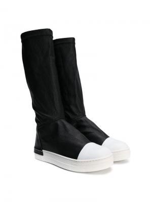Contrast toe-capped boots Cinzia Araia Kids. Цвет: черный