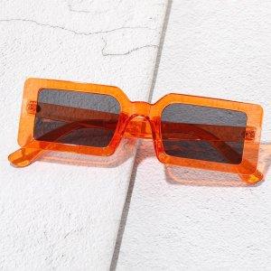 Мужские солнцезащитные очки в квадратной оправе SHEIN. Цвет: оранжевый