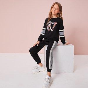 Пуловер с текстовым принтом и контрастные джоггеры для девочек SHEIN. Цвет: чёрный