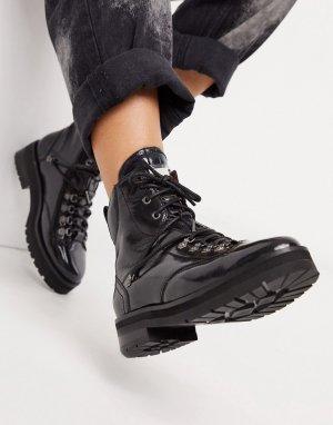 Черные кожаные походные ботинки -Черный Bronx