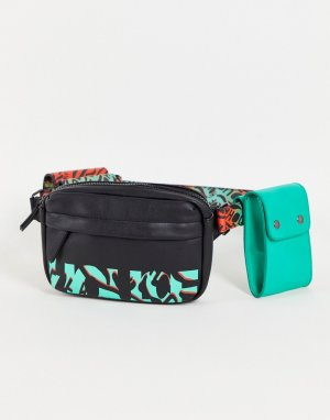 Черная сумка-кошелек на пояс с принтом и логотипом в утилитарном стиле -Черный цвет House of Holland