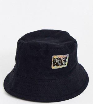 Черная панама унисекс с логотипом -Черный Reclaimed Vintage