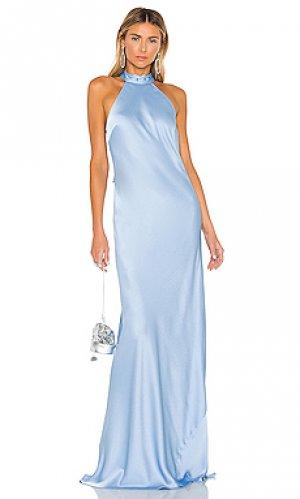 Вечернее платье с высоким воротом brisco Jay Godfrey. Цвет: синий