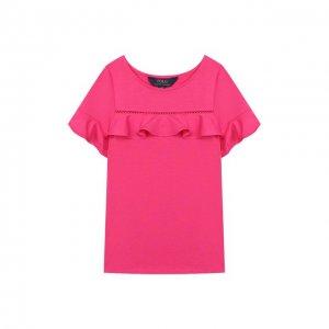 Топ из хлопка и вискозы Polo Ralph Lauren. Цвет: розовый