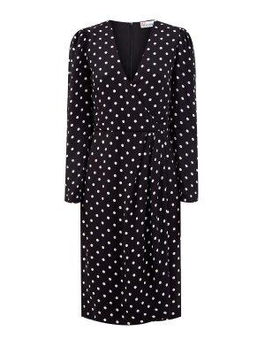 Струящееся платье из гладкого вискозного крепа REDVALENTINO. Цвет: черный